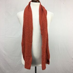 Polo Ralph Lauren Orange Wool Cable Knit Scarf